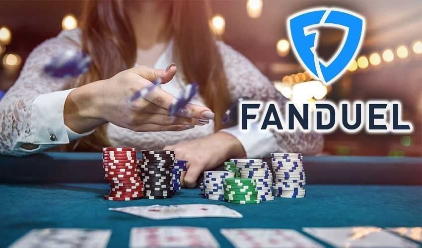 woman throwing chips at casino table with fanduel logo overlaid on image